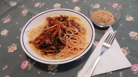 Rdeči radič in špageti